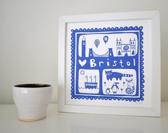 Bristol Screen Print in Cornflower Blue - Hand Printed Limited Edition of 250