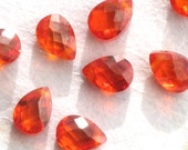 Fire Opal CZ Briolettes, 5x7mm Faceted Flat Pears (8 pieces)