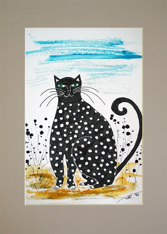 "SALE - FREE SHIPPING Original Ink Watercolor Drawing Original Black And White Painting - ""Summer time"" black cat painting A4 size 12 x 8"