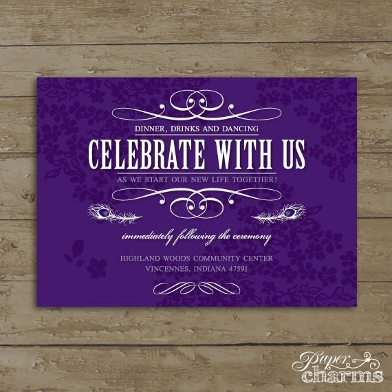 Wedding Reception Card, Peacock Feather, PDF Files or Deposit on Printing