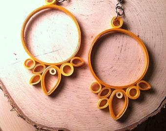 Yellow Sunburst Quilled Earrings