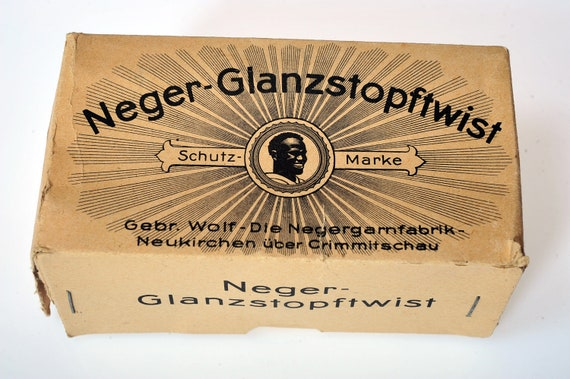 Antique 1920s German NEGER cotton thread, GLANZSTOPFTWIST, complete packet, historical, embroidery, rare, sewing, banned image WW1