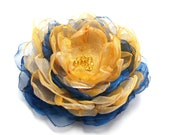 Fabric flower brooch teal blue and orange, bridal hair accessories,  bridesmaid sash