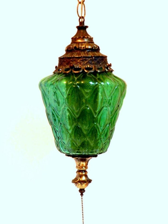 Vintage Green Swag Lamp Light With Pull Chain Plugs Into