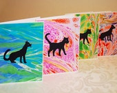 Meow cat silhouette marbled greeting cards (Set of 4)