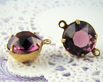 Vintage 11mm Purple Amethyst Glass Stones in Brass Settings Drop or Connector - 4
