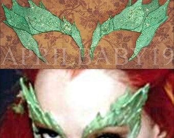 Poison Ivy Leaves Eyebrow mask Comic COn Cosplay Glittery CRYSTAL GREEN color Leaf Costume Elf