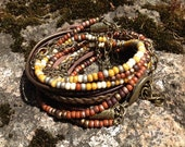 Boho Wrap Bracelet Multi Media, Brass and Bronze with Terra Cotta and Oregon Picture Jasper Mix, 3X wrap, Leather, Beads and Brass (LW-416)