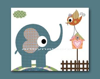 Art for Kids Room Kids Wall Print Baby Boy Nursery Children Artwork Art Baby Artwork Baby Boy print elephant bird green blue