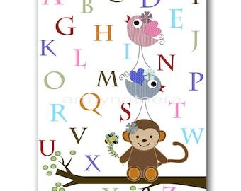 Art for Kids Room Kids Wall Art Baby Boy Nursery Room Decor Baby Nursery print Baby Boy Art Nursery alphabet nursery monkey bird