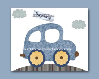 Car Nursery Art Prints Children Decor Baby Decor Children Wall Art Kids Room Decor Nursery Wall Decor Kids Print Gray Blue Baby Art