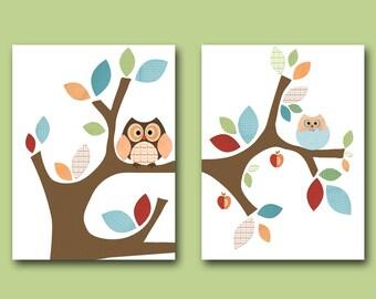 Neutral Nursery Canvas Baby Print Kids Wall Art Owl Nursery Artwork Kids Art Nursery Prints set of 2 Bird Tree Owl Decor Blue Green Red /