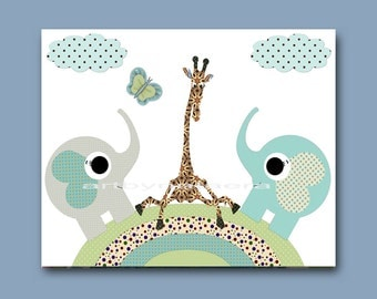 Kids Art for Children Kids Decor Baby Boy Nursery Children Decor Childrens Print Baby Boy Art Print 8x10 Giraffe Elephant Blue Green