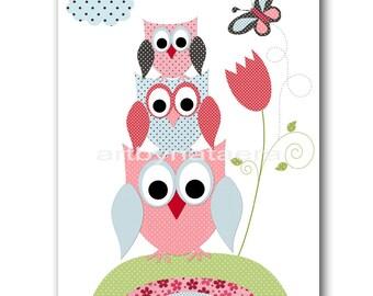 Owls Art for Children Baby Nursery Decor Kids Wall Art Baby Girl Room Decor Baby Girl Nursery Prints Girl Owl Decor Rose Green Red Blue