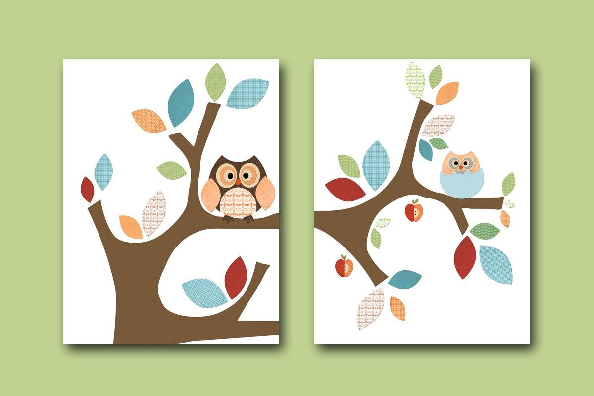 Neutral nursery canvas baby print kids wall art owl nursery for Art e decoration