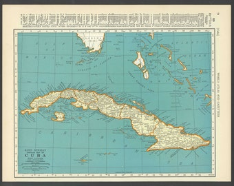Vintage Map of Cuba From 1937 Original