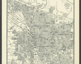Vintage Street Map Portland Oregon From 1937 Original