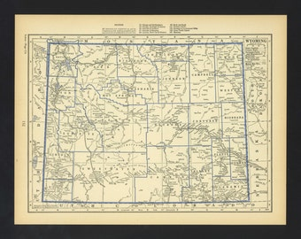 Vintage Map Wyoming From 1930 Original