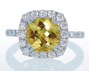 18K White Gold Heliodore Yellow Beryl Diamond Halo Cathedral Solitaire Engagement Wedding Customizable Ring