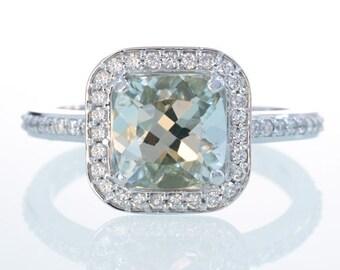 Platinum Cushion Cut Green Quartz Prasiolite Diamond Engagement Anniversary Wedding Ring