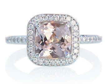 Platinum Cushion Cut Diamond Halo Morganite Engagement Anniversary Wedding Ring