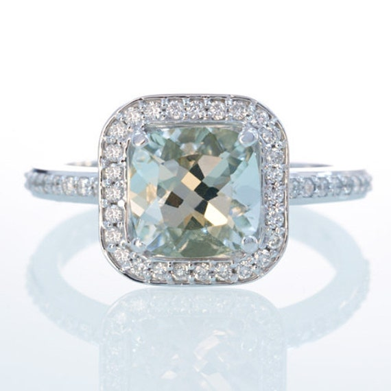 items similar to 14k white gold cushion cut green quartz