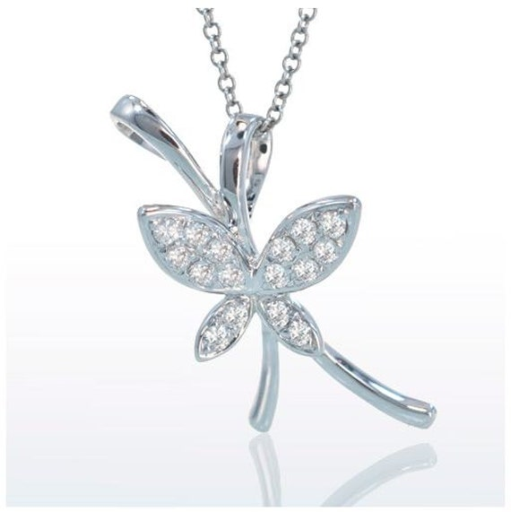 White Gold Diamond Butterfly Pendant