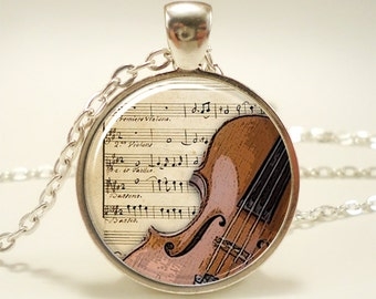 Violin Necklace, Musical Instrument Jewelry, Music Lovers Pendant (1216S1IN)