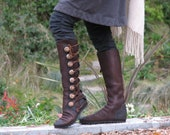 Knee High Women's Boots - Custom Leather Moccasin - Designer Boots - Buffalo & Antler Buttons -