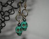 Skull Earrings - Turquoise Skull Head Skull Earrings - I Want Your Skull - Gift for Her