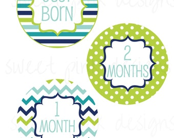 Blue and Green- DIY Baby Month Stickers