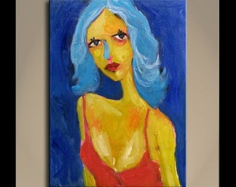 Oil Painting  Original Art Modern Impressionist Portrait Some Texture ACTRESS 12