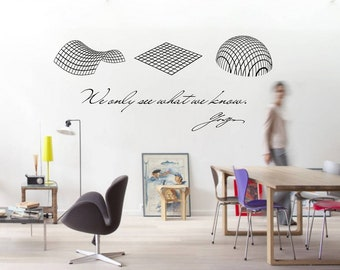 Science art Cosmological models & Goethe quote large vinyl wall decal removable wall decor for school university classroom (ID: 121057)