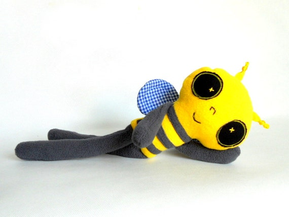 Stuffed animal Plush long Bee  Soft Safe Baby Toy for Children Polar Fleece Cotton