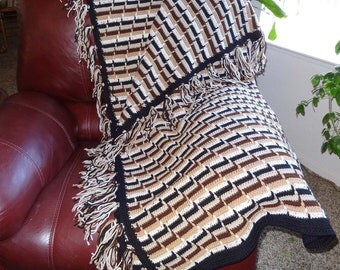 Crocheted Afghan Handmade in Shades of Brown, Black and Off White