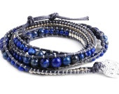 Dark Blue Lapis Beaded Wax Cord Vegan Wrap