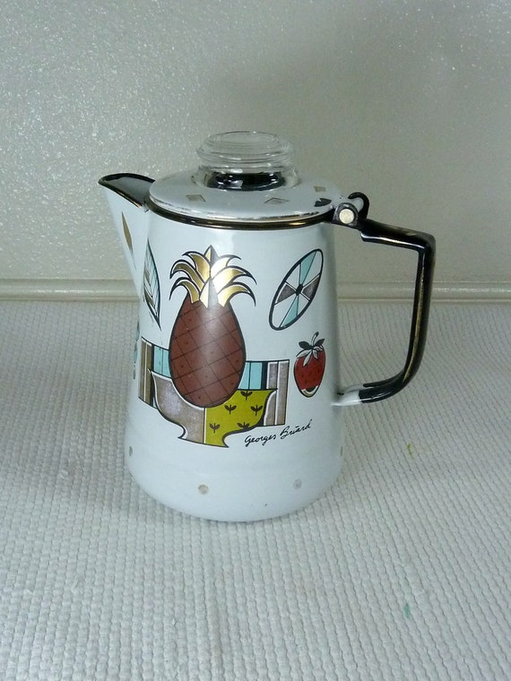 Georges Briard Enamelware 1950s Stove Top Coffee Pot with Fruits and Geometric Designs