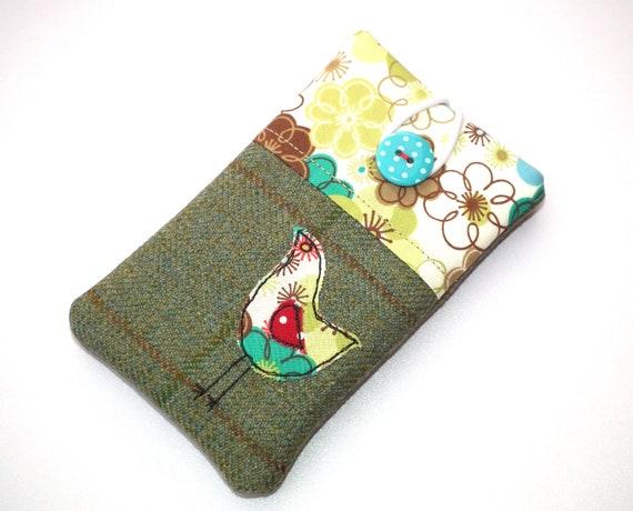 Mobile phone case, iPhone, HTC Desire, tweedy bird applique