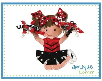 642 Standing Cheerleader with 3D Pom Poms applique design digital for embroidery machine by Applique Corner