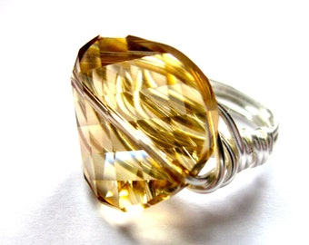 Champage Sparkle Ring, Wire Wrapped Ring, Swarovski Crystal Golden Shadow Ring