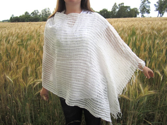 White linen shawl poncho scarf. Four different variants. Wrap linen shawl scarf. Summer linen shawl poncho scarf. Maternity shawl poncho
