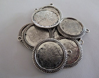 10 x Antique silver round cameo style 1 inch pendant trays