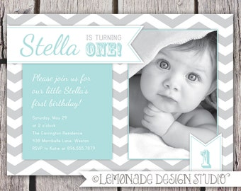 First Birthday Invitation Chevrons - Chevron Photo Printable Invite - Grey and Aqua - Grey and Yellow  or Aqua- 1 Year Old or ANY Age