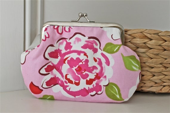 Romantic coin purse with big flower in pink, white and green colors. Made of designer fabric from Dena Designs, small snap frame wallet
