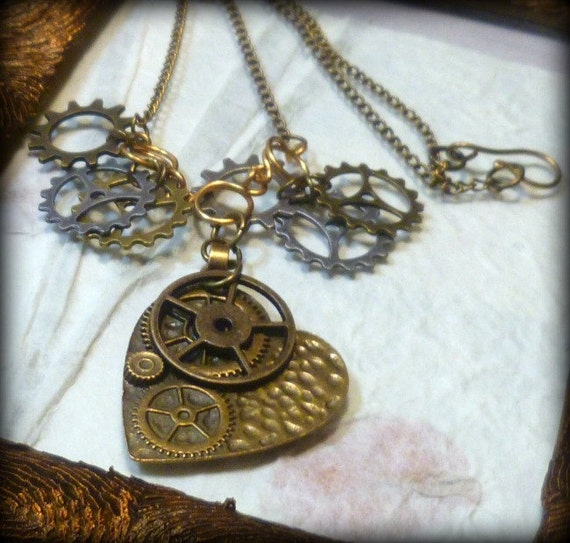 Cogs and Gears Steampunk Heart Charm Necklace UK Seller