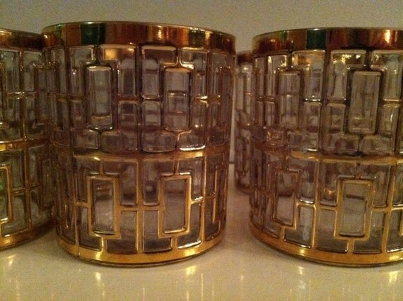 8 ICONIC SHOJI GOLD Mid Century Tumblers From Imperial Glass Hollywood Regency Straight up Fabulous Vintage Glasses