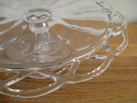 Handblown clear glass cake plate or cake stand with lace edge and beaded pedestal