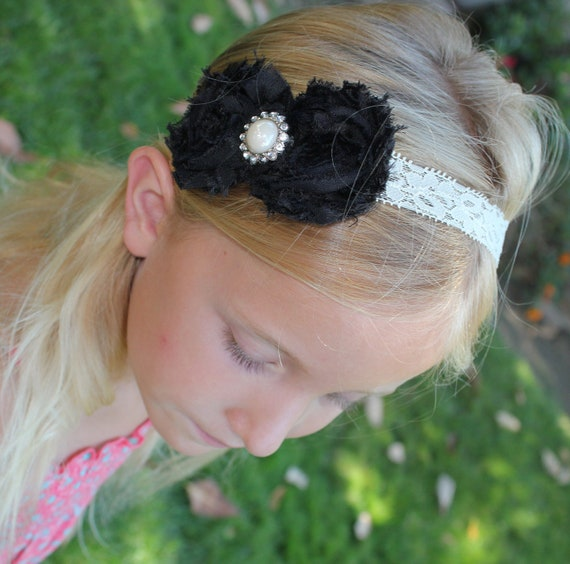 Black Shabby Chiffon Flower with Ivory Pearl Rhinestone Headband for infant, toddler or adult