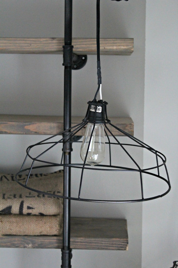 Hanging Metal Wire Lamp Shade Exposed Bulb Cage Light Chandelier Industrial Pendant