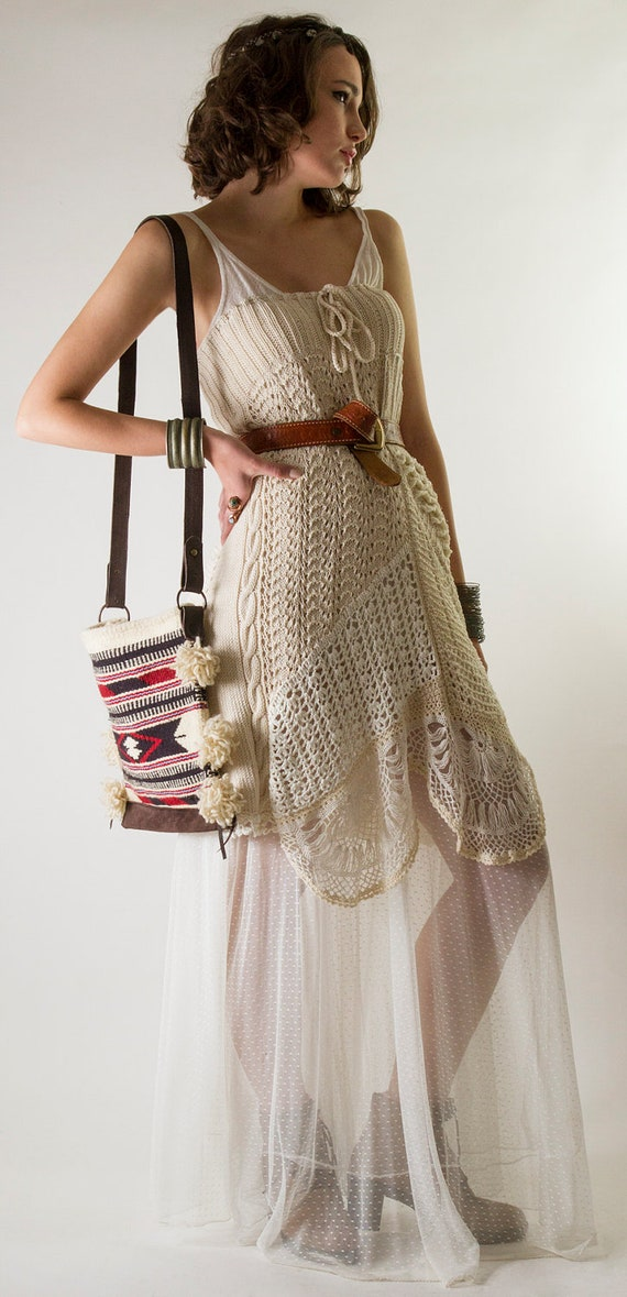 Folk Hand Crochet Cotton Maxi Skirt in off-white and white, One-of-a-Kind